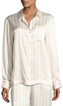 Asceno Striped Button-Front Silk Pajama Top, Pink Pattern
