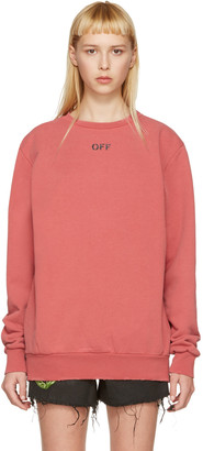 Off-White Red Washed Crewneck Pullover $545 thestylecure.com