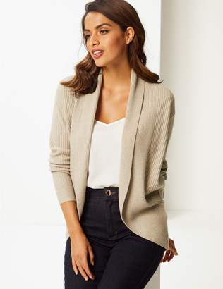 Marks and Spencer Ribbed Open Front Cardigan
