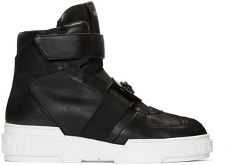 Versace Black Leather High-Top Sneakers $995 thestylecure.com