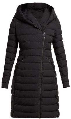 Moncler Barge Asymmetric Zip Quilted Down Filled Coat - Womens - Black