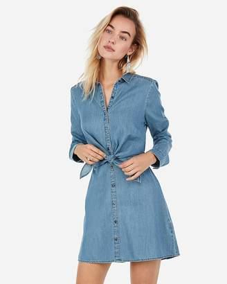 Express Denim Knot Front Long Sleeve Button Shirt Dress