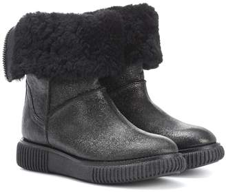 Moncler New Christine fur-lined leather ankle boots