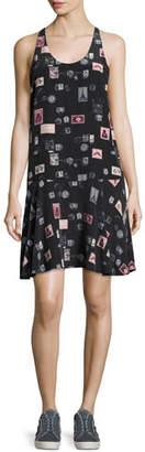 Joie Arianna Sleeveless Stamp-Print Shift Dress, Black