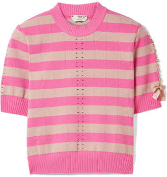 Fendi Lace-up Striped Pointelle-knit Top - Fuchsia