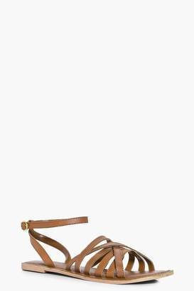 boohoo Cross Wrap Strap Leather Sandals