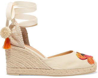 Castaner + Mercedes Salazar Carina 80 Embroidered Wedge Espadrilles - Neutral