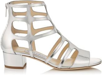 Jimmy Choo REN 35 Silver Mirror Leather Sandals