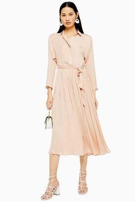 Topshop Satin Pleat Shirt Dress