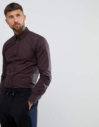 HUGO Elisha extra slim fit poplin shirt with print in black/burgundy