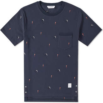 Thom Browne Flag Embroidery Pique Tee