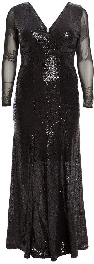 Curve Black Sequin V Neck Maxi Dress