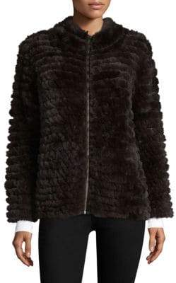 Adrienne Landau Knit Rabbit Fur Zip Jacket