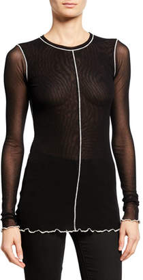 Fuzzi Long-Sleeve Tulle Top with Contrast Piping