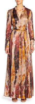 Santorelli Iris Abstract Long-Sleeve Maxi Shirtdress with Mandarin Collar