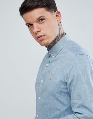 Farah Steen Slim Fit Textured Oxford Shirt in Gray