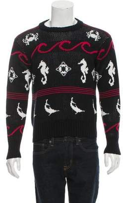 Thom Browne Patterned Knit Crew Neck Sweater