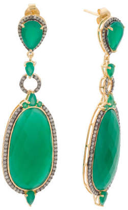 Made In India Sterling Silver Diamond Green Onyx Earrings