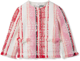 Oscar de la Renta Cropped Fringed Tweed Jacket - Pink