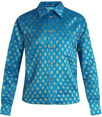 Miu Miu Point-collar leaf-jacquard shirt