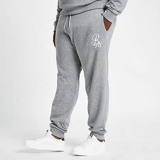 River Island Big and Tall grey slim fit embroidered joggers