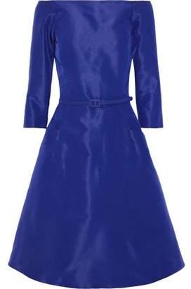 Oscar de la Renta Flared Off-the-shoulder Silk-faille Dress