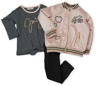 Juicy Couture Girls 4-6x) 3-Piece Patchwork Bomber Jacket & Metallic Leggings Set