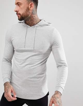 Asos Design Longline Muscle Hoodie With Curved Hem In Grey Marl