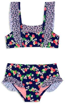 Hula Star Girls' Floral Raspberry-Print 2-Piece Swimsuit - Little Kid