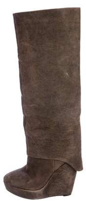 Elizabeth and James Suede Knee-High Wedge Boots