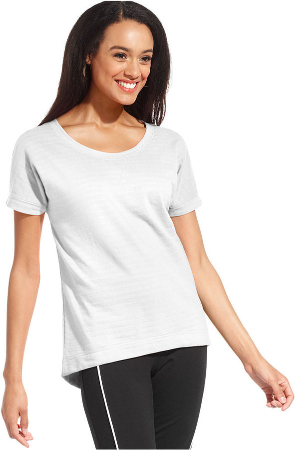 Style&Co. Sport Top, Short-Sleeve Striped French-Terry