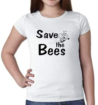 Bumble Bee Hollywood Thread Save The Bees - With Cute Graphic Girl's Cotton Youth T-Shirt