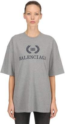 Balenciaga Oversized Logo Cotton Jersey T-Shirt