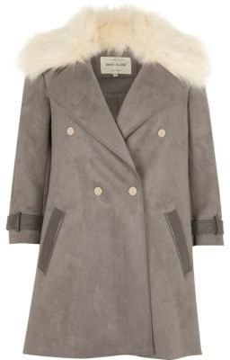 River Island River Island Womens Grey faux fur collar coat