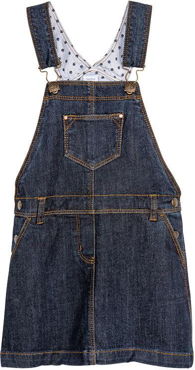 Petit Bateau Girl'S Raw Denim Overalls Dress