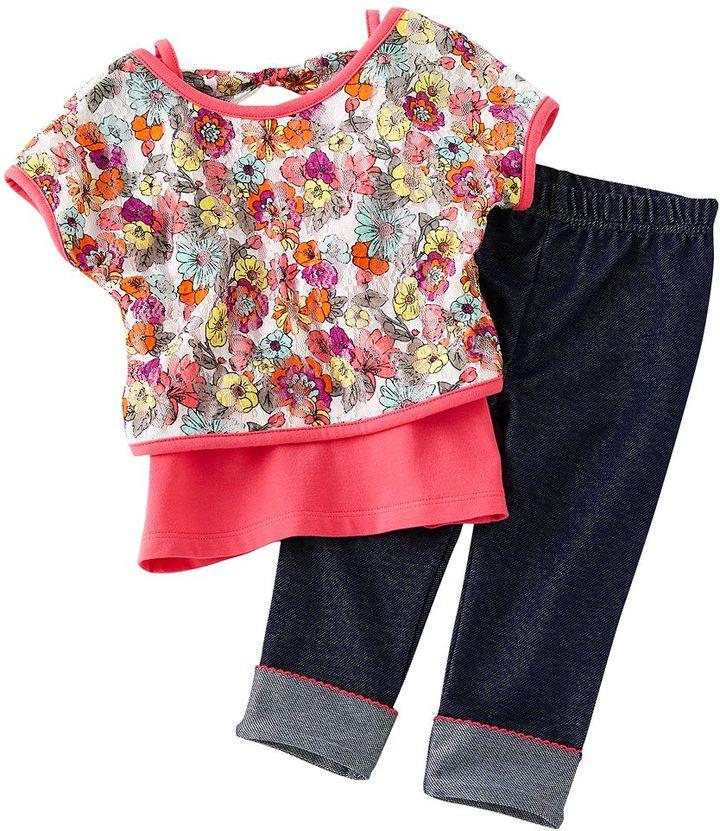Little Lass 3-pc. floral mesh top set - toddler