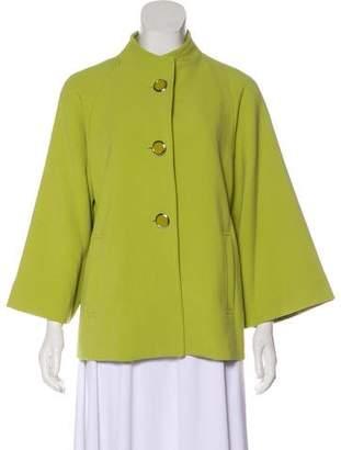 Carmen Marc Valvo Woven Button-Up Jacket