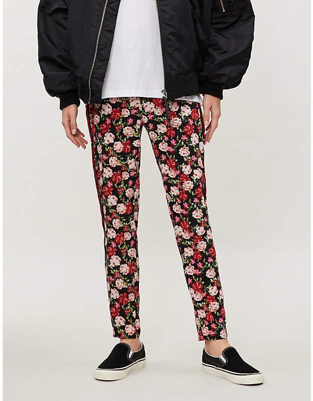 Lulu print silk slim-fit trousers