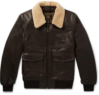 GoldenBear Golden Bear The Carter Shearling-Trimmed Leather Bomber Jacket