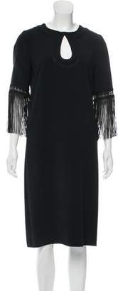 Andrew Gn Fringe-Trimmed Midi Dress w/ Tags