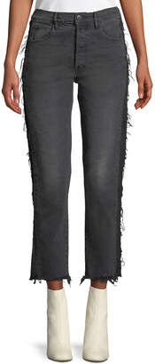 3x1 W3 Cora Cropped Straight-Leg Jeans w/ Frayed Panels