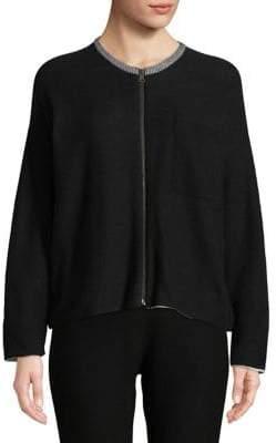 Eileen Fisher Round Neck Zip-Up Cardigan