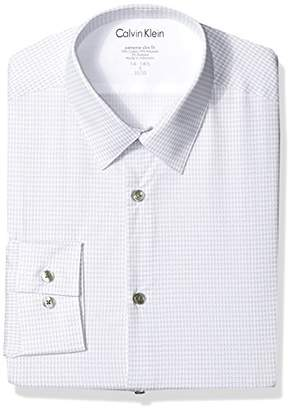 Calvin Klein Men's Dress Shirts Xtreme Slim Fit Thermal Stretch Houndstooth