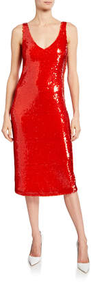Sally LaPointe Sequined Scoop-Neck Tank Dress