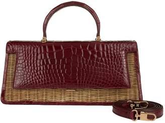 Maj Analeena Wicker Panel Crocodile Bag