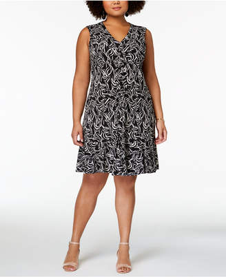 Taylor Plus Size Printed Ruffled Jersey Dress