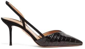 Aquazzura Salome 75 Leather Slingback Pumps - Womens - Black