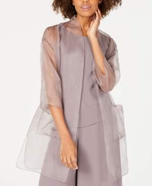 Eileen Fisher Silk Organza 3/4-Sleeve Kimono Jacket