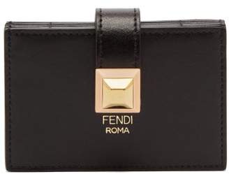 Fendi Stud Embellished Expandable Leather Cardholder - Womens - Black