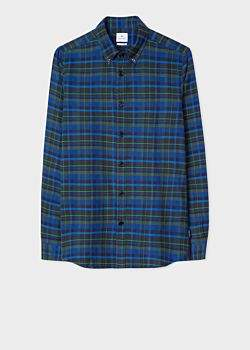 Paul Smith Men's Tailored-Fit Navy And Black Check Cotton Shirt